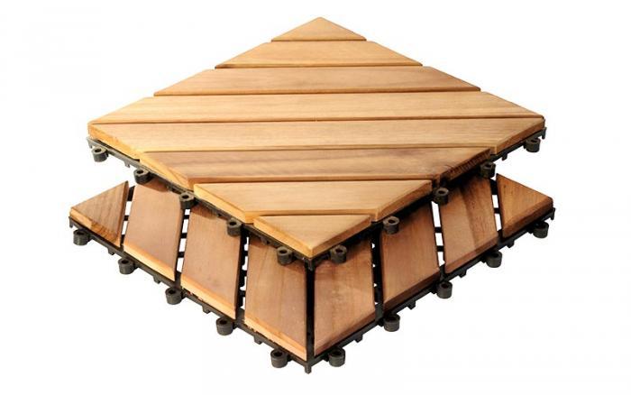 Die Akazien-Fliese ist eine Echt Holz-Bodenplatte mit einem Gitterrücken aus HDEP-Kunststoff.
